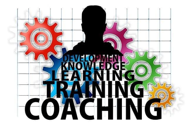 Stilisiertes Bild mit Schriften Coaching Training